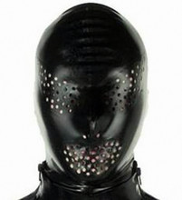 Buy New Anatomical Latex Mask Black Rubber Fetish Latex Hoods Masks Sexy Mouth Eyes Condom Rubber customized catsuit costume