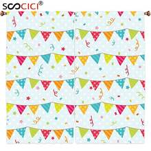 Window Curtains Treatments 2 Panels,Birthday Decorations Colorful Pretty Triangular Party Flags on Ropes Swirls and Stars Kids(China)