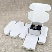 2017 White Ring box 40x40x25mm 300gsm paper Cardboard Ring BOX DIY White/Black Inside Sponge Black Velvet Free Shipping(China)