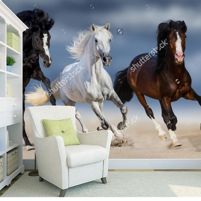 Custom modern wallpaper,Three horse run gallop in sand,3D photo mural for the living room bedroom restaurant vinyl wallpaper<br>
