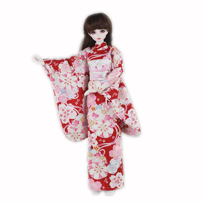 1/3 BJD Doll Accessories Clothes Dress For About 60cm Large BJD SD Doll Toy Princess Dress Japanese Kimono Clothes Gift For Girl(China)