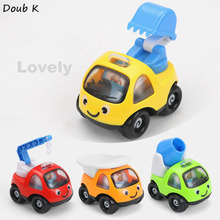 Doub K 4pcs/packs colorful Cartoon Car Model Mini inertia Engineering car excavator crane toys for children kids birthday gifts(China)