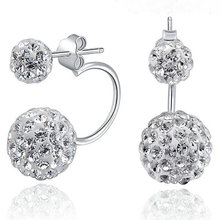New Design Cheap High Quality silver-color stud earrings for women Double Ball shamballa earrings