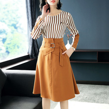 Buy New Fashion Designer Women Clothing Sets Skirt 2018 Spring Summer Women Long Sleeve Striped Top Skirt Suit Set Outfits for $57.24 in AliExpress store