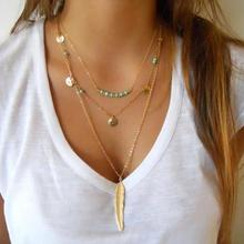 European And American Foreign Trade Handicrafts Simple Green ston Beads Sequins Necklace Gold Coins Necklace Multilayer Necklace