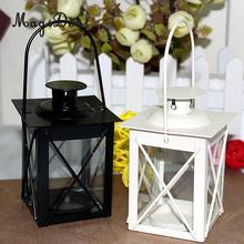 MagiDeal Metal Candle Holder Wall Hanging Lantern Bar Garden Ornaments Black/White Romantic Home Decor(China)