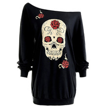 Plus Size 3XL Autumn Tops Tee for Women Fashion Skull Print Sexy Slash Neck Full Sleeve Loose Long T-shirt Nightclub Clothes
