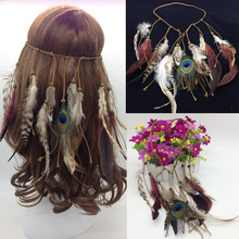 The Peacock Feather Fascinator Hair Band Indian Headdress Feathers Bohemian National Style(China)
