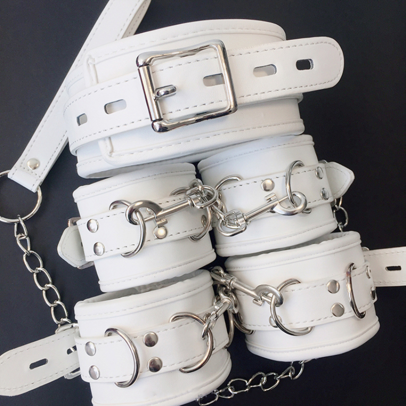 White SM PU Leather Retro Adjustable Handcuffs Restraints Ankle Cuff Restraints BDSM Bondage Slave Adult Sex Toys for couple 1
