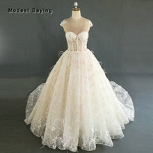 Buy Sexy Luxury Ball Gown Floral Embroidery Lace Wedding Dress 2018 Pearls Ostrich Feather Bridal Gowns Custom Made robe de mariee for $542.70 in AliExpress store