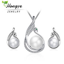 Hongye 2 Pcs/Sets Freshwater Pearl Bridal Jewelry Sets Cute Swan 925 Silver Wedding Necklace Sets Engagement Jewelry Accessories(China)