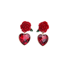 Charming Red Flower Heart Earring Cheap Gold Color Short Earring Fashion Gift Jewellery Factory Direct Sale