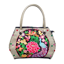 Hot Sell National Women Bag Folk Floral Peacock Embroidered Bag Female Fashion Embroidery Canvas Tote Travel Handbag Bolsa