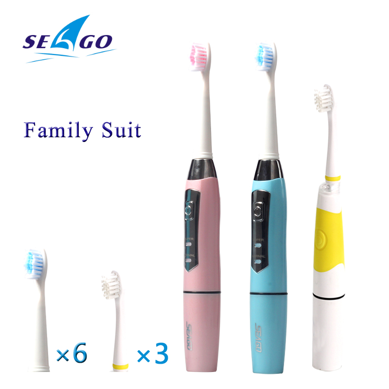 SEAGO Family Suits Battery Tooth Brushes Electric Toothbrush Superior Plaque Removal Sonic Toothbrush 9 Replacement Brush Heads<br>
