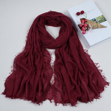 Hot sale Pure color bubble plain scarf/scarves fringes women soft solid hijabs popular muffler shawls pashmina muslim wrap 4CX01(China)