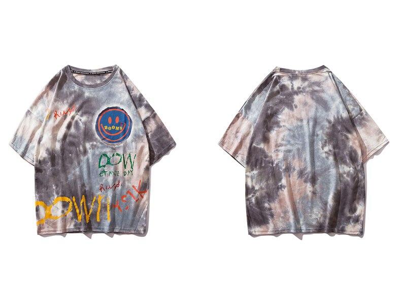 Graffiti Smile Print Tie Dye Tshirts 1