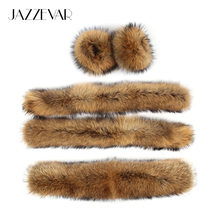 JAZZEVAR Large hooded furs real raccoon fur collar front fly and cuff(China)