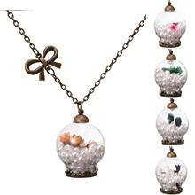 Vintage Jewelry Bronze Plated with Wish Bottle Dried Flower Imitation Pearl Glass Pendant Choker Necklace for Women Wedding