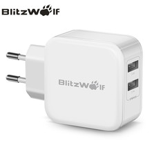 BlitzWolf Dual USB Charger Travel Wall Charger Fast Mobile Phone Charger Adapter 2.4A EU AU For iPhone X 8 Plus 7 6s For Samsung(China)
