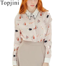 Topjini Women Novelty Blouse Lovely Cats Turn-down Collar Music Cats Print Long Sleeve 2017 Spring Tops Shirts