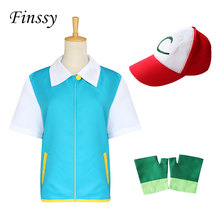 Anime Pokemon Ash Ketchum Cosplay Costume for Boys Blue Jacket Gloves Hat Ash Ketchum Costumes 1 set Hot Sale