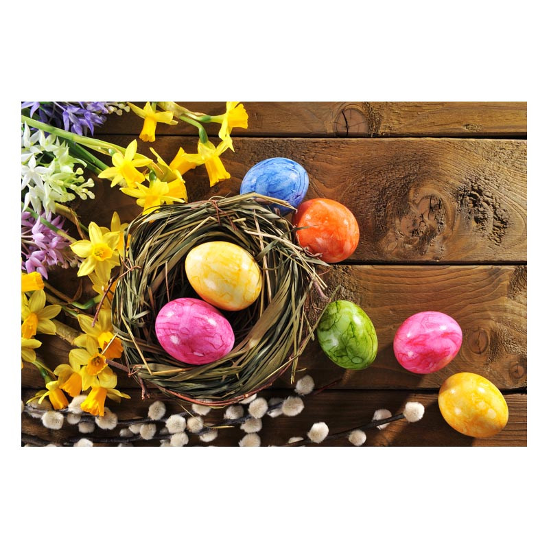 2.2MX1.5M For taking pictures there are beautiful flowers and colorful eggs happy Easter printed vinyl background GE-183<br><br>Aliexpress