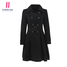 Women Wool Coats 2017 Winter Black Double Breasted Belt Casual Overcoats Work Office Warm Coat Bubblekiss