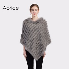 CK702 Real Knitted rabbit Shawl poncho stole shrug cape robe tippet wrap with raccoon fur collar women warm coat/outwear(China)