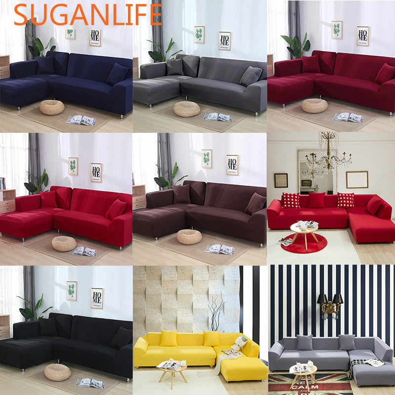2 pcs Covers For L Shape Sofa Universal Stretch Fabric Solid Color Corner  Couch Elastic Anti-ash Decor Resistant Sofa Slipcover