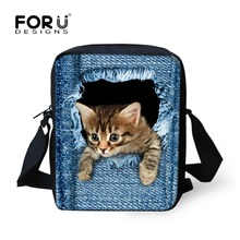 FORUDESIGNS Cute Pet Dog Cat Print Denim School Bags For Girls,Animal Schoolbag Student Kids Boys Bookbags Children Mini Mochila(China)