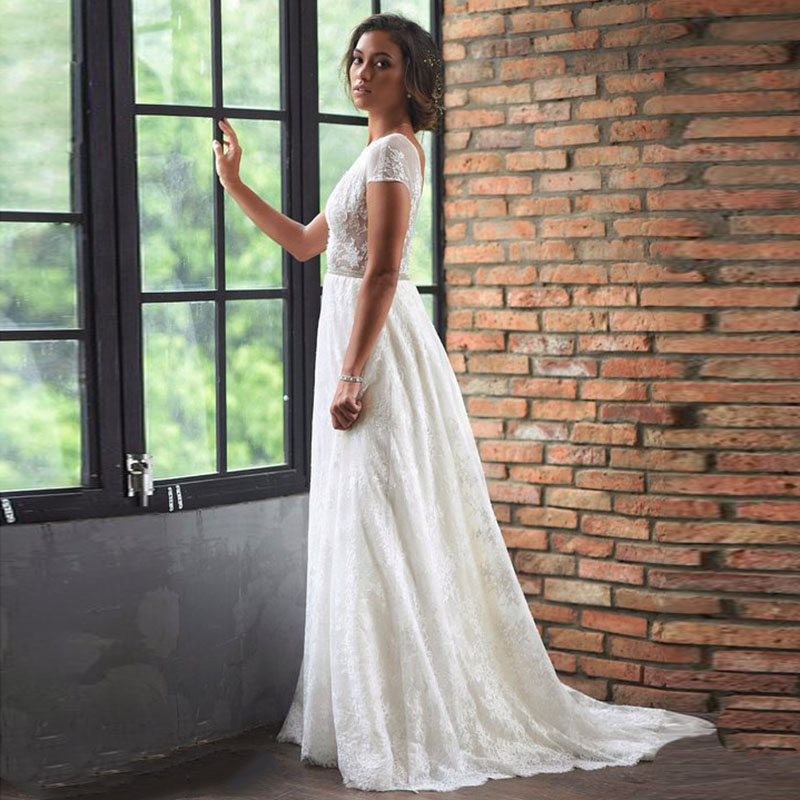 Thinyfull Lace Wedding Dresses Beaded Sashes A-Line Backless Cap Sleeve White Ivory Bridal Gown Free Shipping Wedding Dress 2019