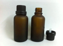 12pcs 30ml  amber or brown glass Essential oil empty bottles  with black caps/1oz frosted glass bottle with stoppers