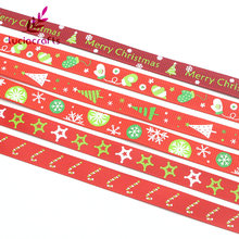 "Lucia crafts 5yards 3/8"" 10mm Printing Grosgrain Ribbons Bows Christmas Party DIY Garment Decor Handcraft Accessories 040048041(China)"