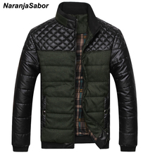 NaranjaSabor Mens Brand Clothing 2017 Winter Men's Thick PU Coat Warm Padded Casual Mens Jackets Male Overcoat Men's Coats 4XL(China)