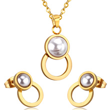 Trendy Style Pearls Connect Stainless Steel Round Necklace Earrings Sets For Women Customized Accessories(China)