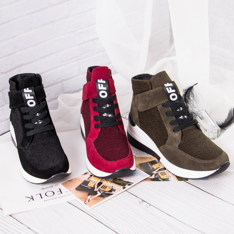BELISS 2018 spring autumn ankle boots wedges cow suede leather platform hook loop women sneakers (4)