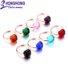 2017 new 12mm foggy rare earth glass natural 8 colors rings big stone wedding ring for women plated rose gold fashion jewelry(China)