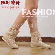 2017 New Summer style boots Women Cut-Outs Fashion Shoes Knitted short lace Boot Spring ankle botas size 35-41 in 8 colors