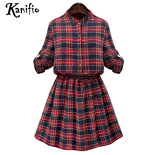 Kanifio Plus Size Women Apparel 2017 Spring Autumn Ladies Roll Up Sleeves Plaid Casual Dresses Female OL Office Dress Vestidos(China)