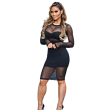New Arrival Mesh Bodycon Dress Summer 2016 Black Beige Sheer Party Dresses Stretchy Sexy Club Wear Plus Size Women Clothing