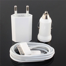EU Plug wall Adapter + Car charger + 30 pin Sync data Charging USB Cable Kit for apple iPhone 4 4S 3GS 3G iPod Touch