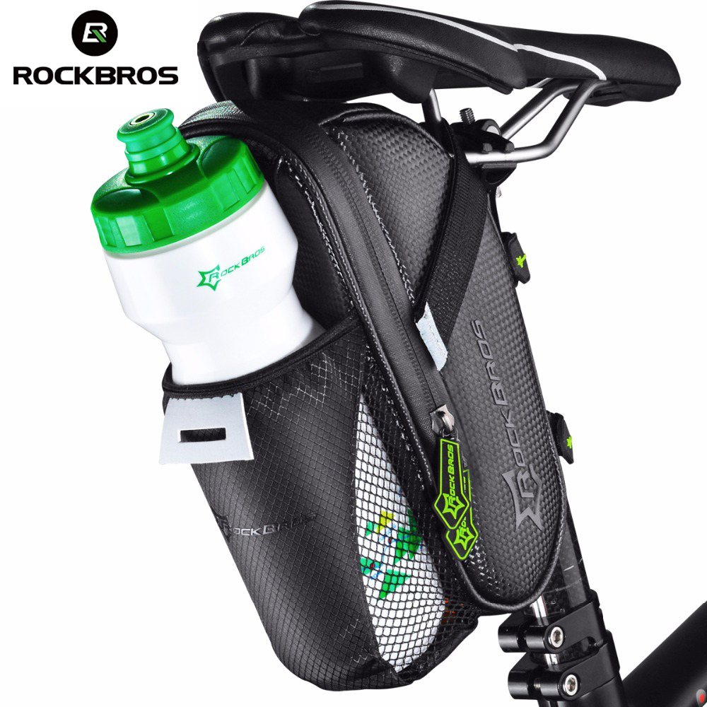 ROCKBROS Bicycle Saddle Bag Water Bottle Pocket Waterproof MTB Bike Rear Bags Cycling Rear Seat Tail Bag Bike Accessories