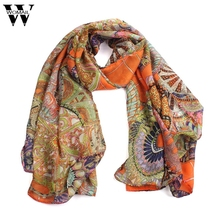 Amazing Fashion Women Girl Chiffon Printed Silk Long Soft Scarf Shawl Scarves Free Shipping(China)