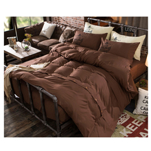 Solid Color Brown Sliver Grey Bedding Set with Button Bed Linen Twin Full Queen King Duvet Cover Set 4pcs Bedsheet Drop De lit(China)