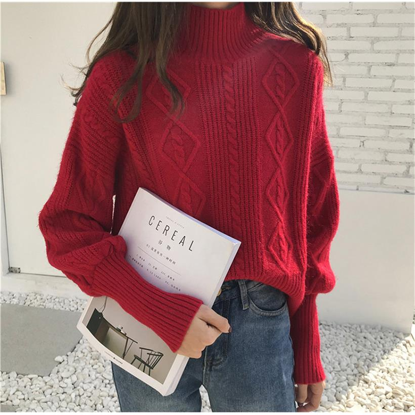 2019 new arrival women's clothing ladies turtleneck twist knitted sweaters women casual lantern sleeve pullover sweater