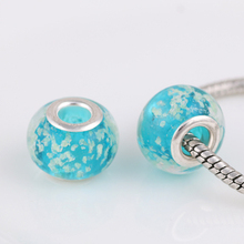 10 Pcs a Lot Glass Blue Beads Spacer Bead Round DIY Chunky European Czech Charm Bead Pendant Fit For Pandora Charms Bracelet(China)