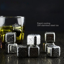 4Pcs/lot Whiskey Wine Beer Stones Stainless Steel Cooler Stone Whiskey Rock Ice Cube Edible Alcohol Physical Cooled  Barware