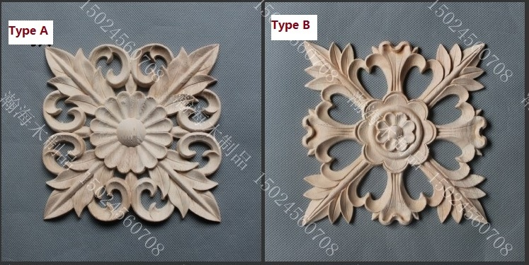 5Pcs/Lot 15*15CM  FURNITURE ARCHITECTURAL APPLIQUES WOOD UNPAINTED Rosette Square<br><br>Aliexpress
