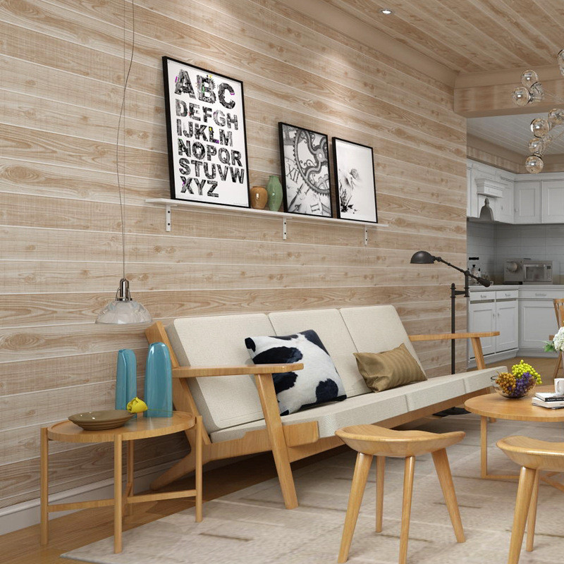 American Vintage PVC Wallpapers Nostalgia Wood Grain Stripe Wall Papers for Living Room Bedroom Study Personality Wall Rolls<br>