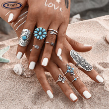 BYSPT 9pcs/set New Vintage Bohemia Style Engraving Animal Arrow Blue bead Knuckel Ring Women Boho Retro Ring Sets Female Jewelry
